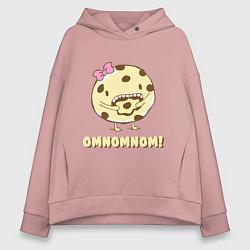 Толстовка оверсайз женская Cake: Omnomnom! цвета пыльно-розовый — фото 1