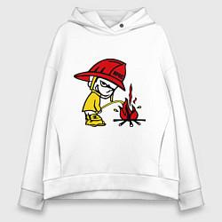 Толстовка оверсайз женская Ручной пожарник цвета белый — фото 1