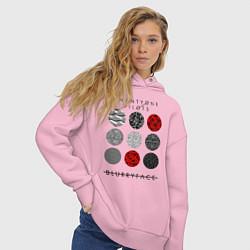Толстовка оверсайз женская TOP: Blurryface цвета светло-розовый — фото 2