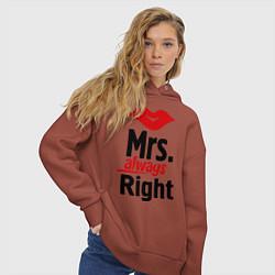 Толстовка оверсайз женская Mrs. always right цвета кирпичный — фото 2