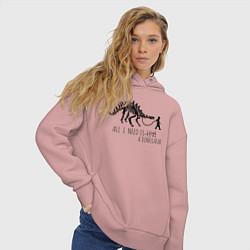 Толстовка оверсайз женская All a need is dinosaur цвета пыльно-розовый — фото 2