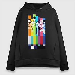 Толстовка оверсайз женская Big Bang Theory collage цвета черный — фото 1