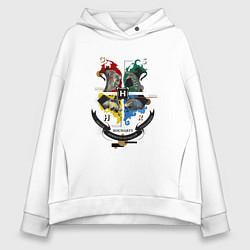 Толстовка оверсайз женская Гарри Поттер цвета белый — фото 1