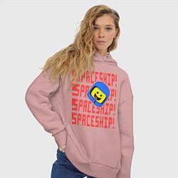 Толстовка оверсайз женская Spaceship цвета пыльно-розовый — фото 2