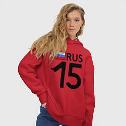 Толстовка оверсайз женская RUS 15 цвета красный — фото 2