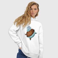 Толстовка оверсайз женская Капкейк цвета белый — фото 2