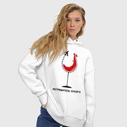 Толстовка оверсайз женская Истребитель сухого цвета белый — фото 2