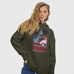 Толстовка оверсайз женская Капитан Америка цвета хаки — фото 2