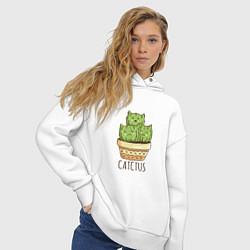 Толстовка оверсайз женская Котики Кактусы Catctus цвета белый — фото 2