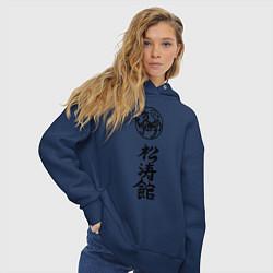 Толстовка оверсайз женская Шотокан карате цвета тёмно-синий — фото 2