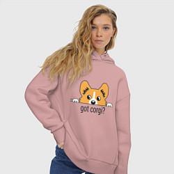 Толстовка оверсайз женская Got Corgi цвета пыльно-розовый — фото 2