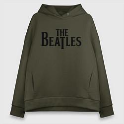 Толстовка оверсайз женская The Beatles цвета хаки — фото 1