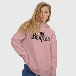 Толстовка оверсайз женская The Beatles цвета пыльно-розовый — фото 2