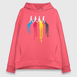 Толстовка оверсайз женская Abbey Road Colors цвета коралловый — фото 1