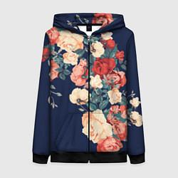 Женская толстовка на молнии Fashion flowers