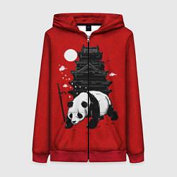 Толстовка на молнии женская Panda Warrior цвета 3D-красный — фото 1