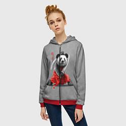 Толстовка на молнии женская Master Panda цвета 3D-красный — фото 2
