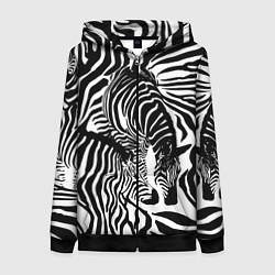 Толстовка на молнии женская Полосатая зебра цвета 3D-черный — фото 1