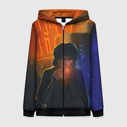 Толстовка на молнии женская Виктор Цой в ночи цвета 3D-черный — фото 1