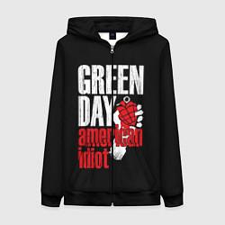 Толстовка на молнии женская Green Day: American Idiot цвета 3D-черный — фото 1