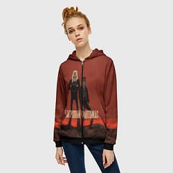 Толстовка на молнии женская Внутри Лапенко: Багровый Фантомас цвета 3D-черный — фото 2