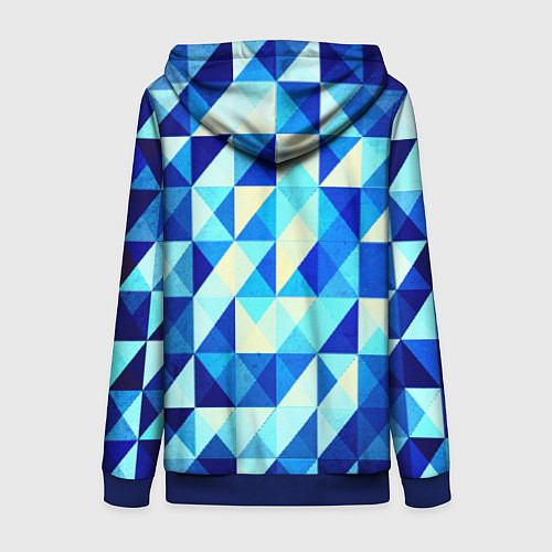 Женская толстовка на молнии Синяя геометрия / 3D-Синий – фото 2