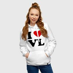 Толстовка-худи хлопковая женская I love VL цвета белый — фото 2