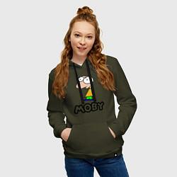 Толстовка-худи хлопковая женская Moby цвета хаки — фото 2