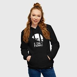 Толстовка-худи хлопковая женская Elon: Don't Panic цвета черный — фото 2