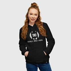 Толстовка-худи хлопковая женская Balenciaga Fashion цвета черный — фото 2