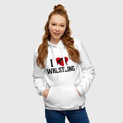 Толстовка-худи хлопковая женская I love wrestling цвета белый — фото 2