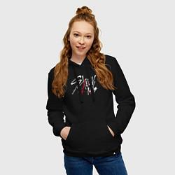 Толстовка-худи хлопковая женская Stray Kids цвета черный — фото 2