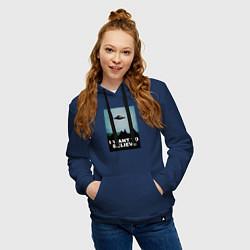 Толстовка-худи хлопковая женская I WANT TO BELIEVE цвета тёмно-синий — фото 2