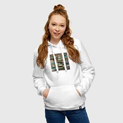 Толстовка-худи хлопковая женская Скриптонит- 2004 цвета белый — фото 2
