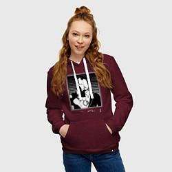 Толстовка-худи хлопковая женская Iron Man цвета меланж-бордовый — фото 2