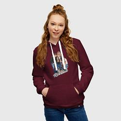 Толстовка-худи хлопковая женская Riverdale heroes цвета меланж-бордовый — фото 2