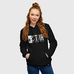 Толстовка-худи хлопковая женская S T A R Labs цвета черный — фото 2