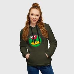 Толстовка-худи хлопковая женская Mickey Mouse цвета хаки — фото 2