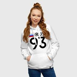 Толстовка-худи хлопковая женская RUS 93 цвета белый — фото 2