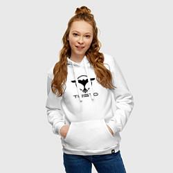 Толстовка-худи хлопковая женская Tiesto цвета белый — фото 2