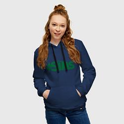 Толстовка-худи хлопковая женская Sims цвета тёмно-синий — фото 2