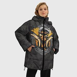 Женская зимняя 3D-куртка с капюшоном с принтом Камуфляжная обезьяна, цвет: 3D-черный, артикул: 10100551406071 — фото 2