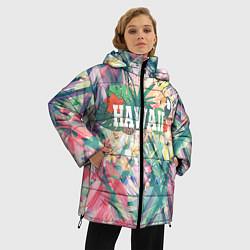 Женская зимняя 3D-куртка с капюшоном с принтом Hawaii Summer, цвет: 3D-черный, артикул: 10100570906071 — фото 2