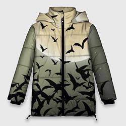 Женская зимняя 3D-куртка с капюшоном с принтом Хэллоуин-принт, цвет: 3D-черный, артикул: 10109374106071 — фото 1