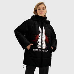 Женская зимняя 3D-куртка с капюшоном с принтом Череп, цвет: 3D-черный, артикул: 10109845406071 — фото 2
