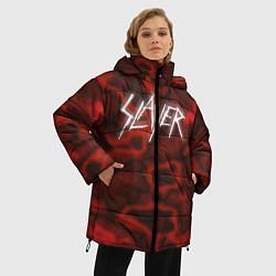 Женская зимняя 3D-куртка с капюшоном с принтом Slayer Texture, цвет: 3D-черный, артикул: 10112040806071 — фото 2