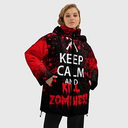 Женская зимняя 3D-куртка с капюшоном с принтом Keep Calm & Kill Zombies, цвет: 3D-черный, артикул: 10114183406071 — фото 2