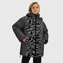 Женская зимняя 3D-куртка с капюшоном с принтом Joy Division: Unknown Pleasures, цвет: 3D-черный, артикул: 10115691506071 — фото 2