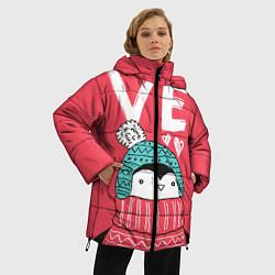 Женская зимняя 3D-куртка с капюшоном с принтом Пингвин: VE, цвет: 3D-черный, артикул: 10116604706071 — фото 2