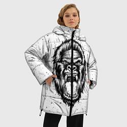 Женская зимняя 3D-куртка с капюшоном с принтом Рык гориллы, цвет: 3D-черный, артикул: 10121356706071 — фото 2